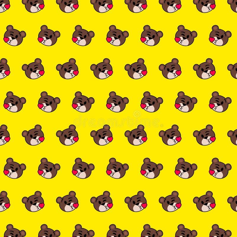 Urso - teste padrão 14 do emoji ilustração stock