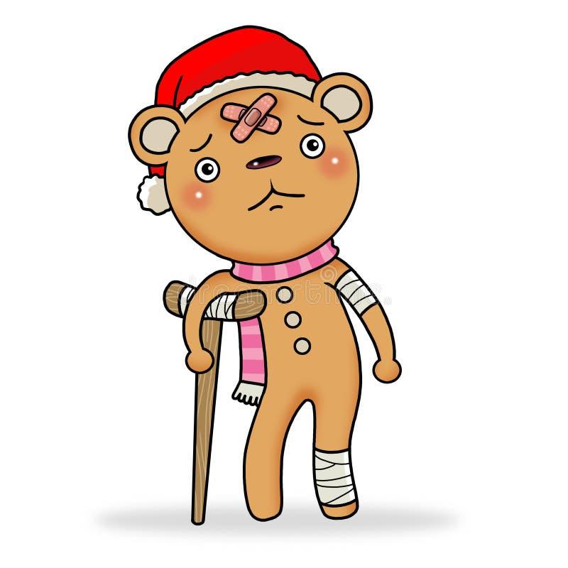 Urso triste do pão-de-espécie ilustração do vetor