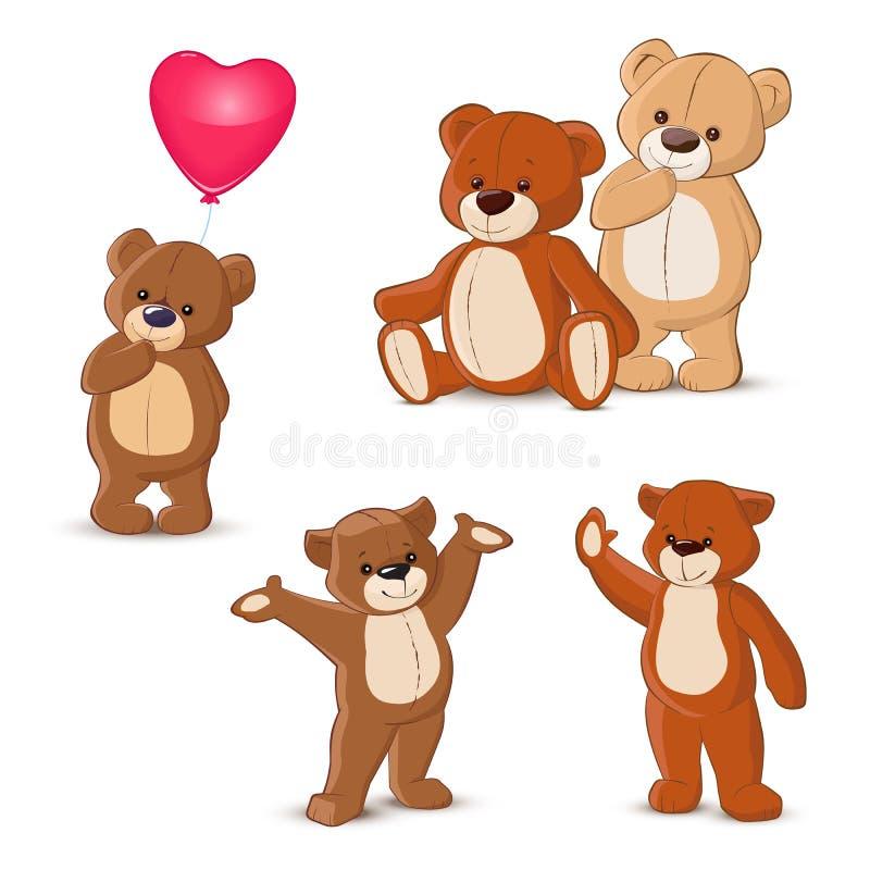 Ursos da peluche ajustados ilustração royalty free