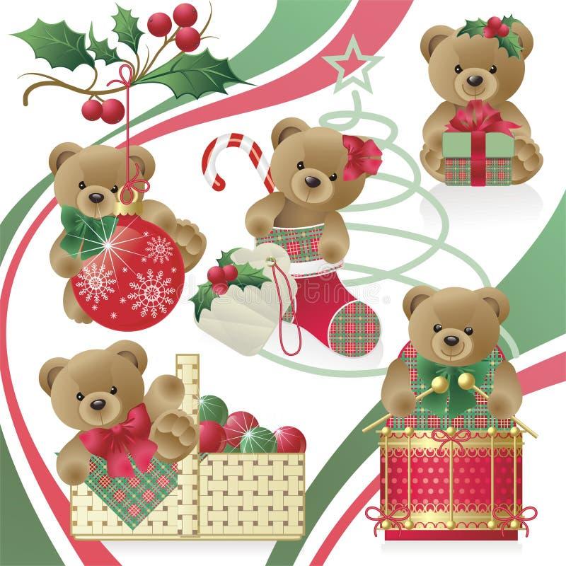 Ursos da peluche do Natal ilustração do vetor