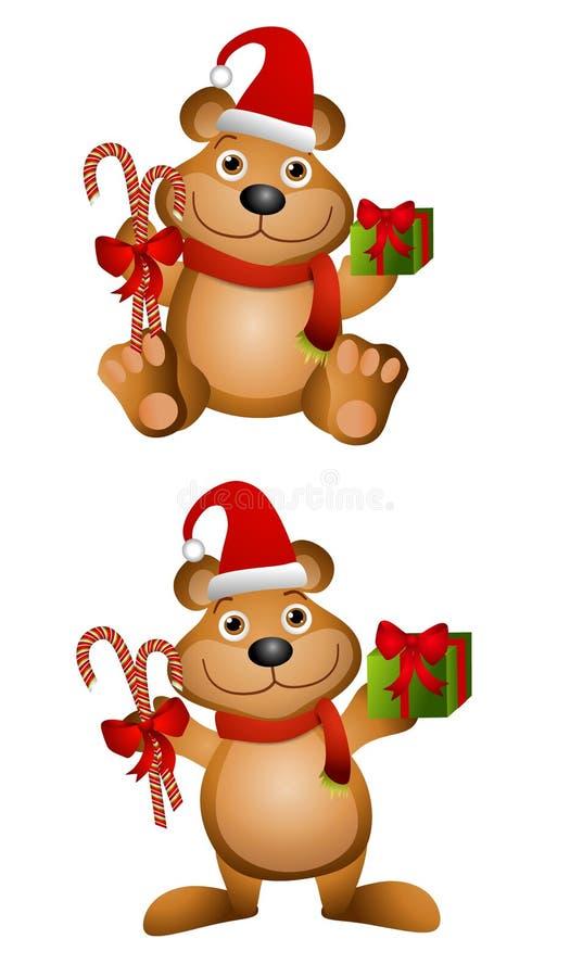 Ursos da peluche do Natal dos desenhos animados ilustração royalty free