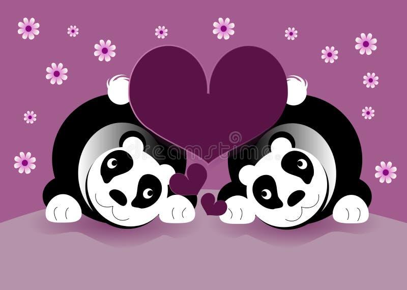 Ursos de panda no amor ilustração do vetor