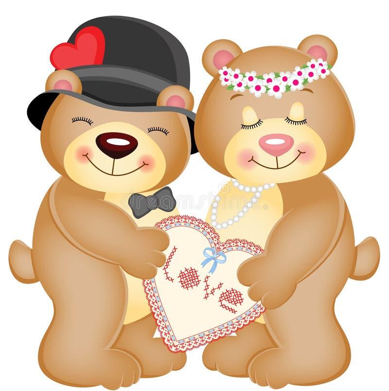 Ursos de peluche do coração do amor ilustração royalty free