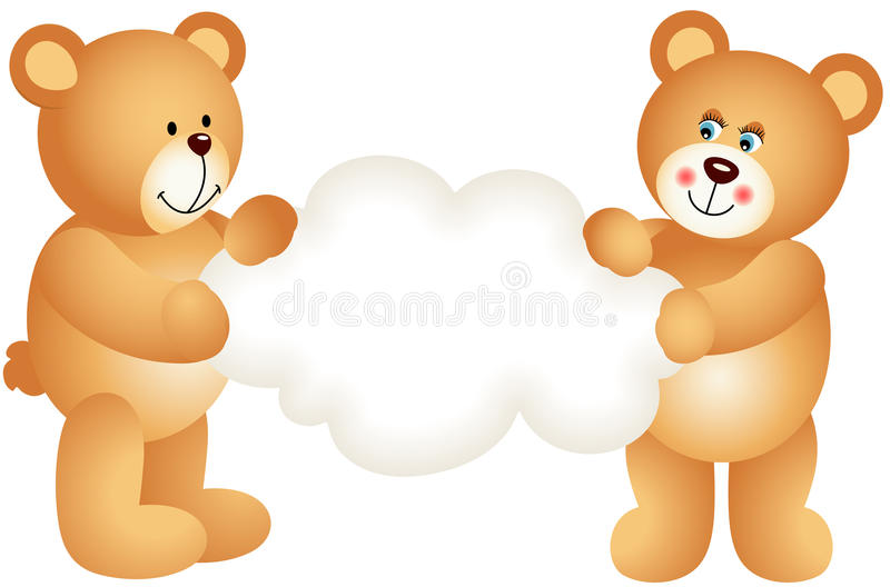 Ursos de peluche dos pares que guardam a nuvem vazia ilustração do vetor