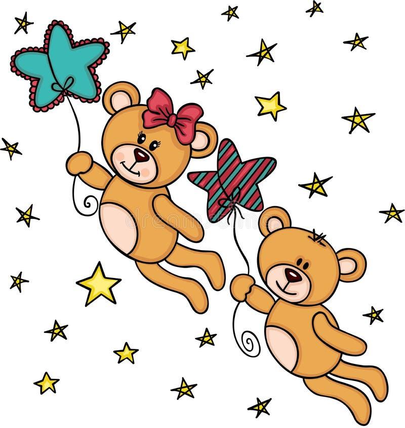 Ursos de peluche dos pares que voam com estrelas ilustração royalty free