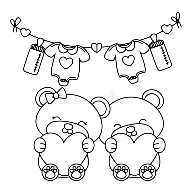 Ursos do brinquedo que mant?m cora??es preto e branco ilustração stock