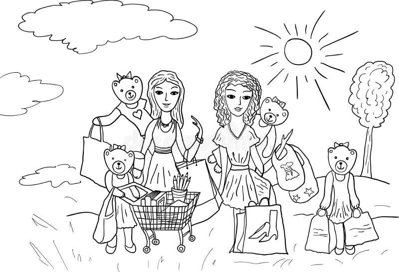 Ursos e meninas engraçados dos personagens de banda desenhada com sacos de compras ilustração royalty free