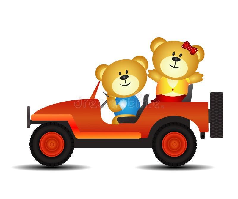 Ursos em um carro ilustração royalty free