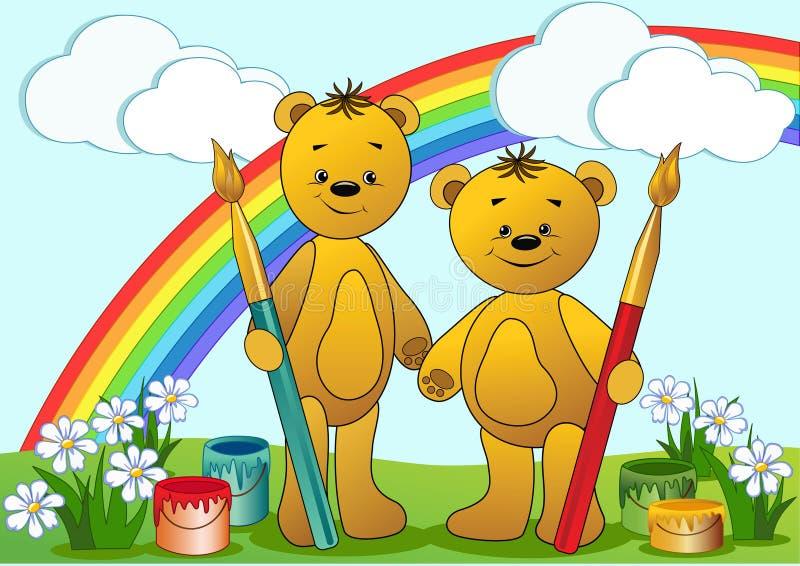 Ursos engraçados dos desenhos animados. ilustração stock