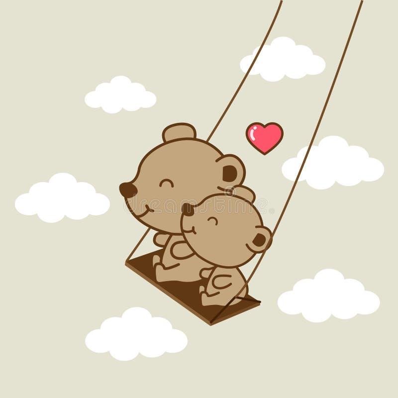 Ursos felizes que montam em um balanço ilustração royalty free