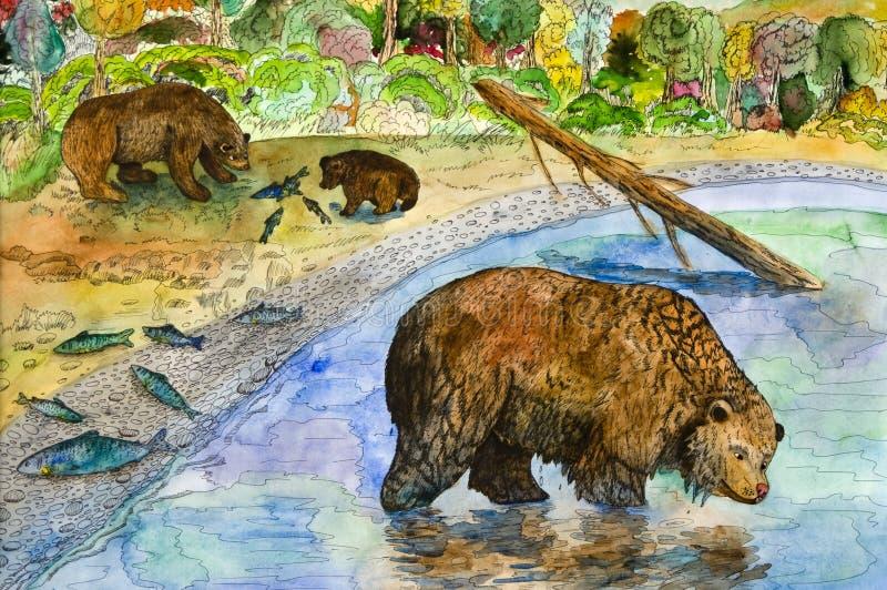 Ursos na pesca imagens de stock royalty free