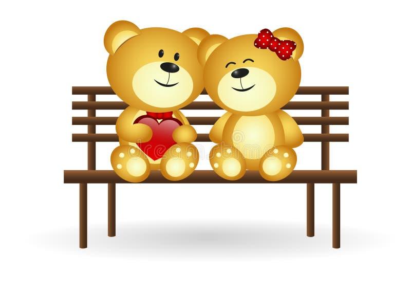 Ursos no amor ilustração royalty free
