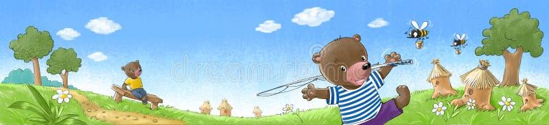 Ursos no gramado ilustração do vetor
