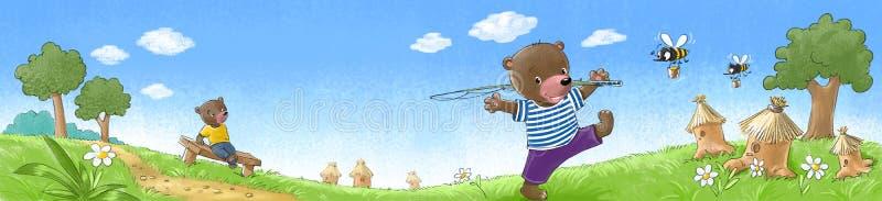 Ursos no gramado ilustração royalty free