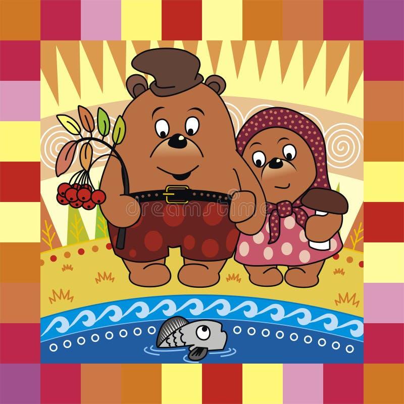 Ursos no outono ilustração stock