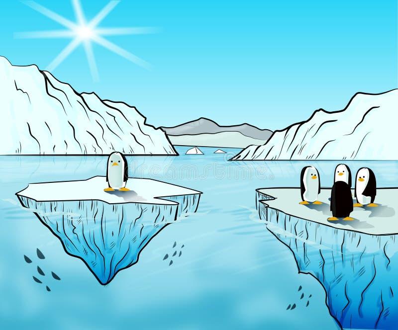 Ursos polares e aurora boreal ilustração do vetor