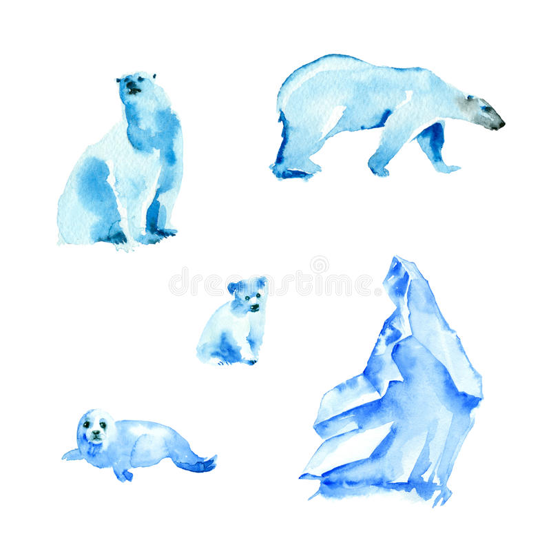 Ursos polares e banquisa ilustração stock