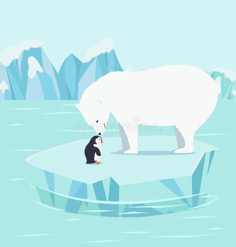 Ursos polares e pinguins em um iceberg no ártico do Polo Norte ilustração stock