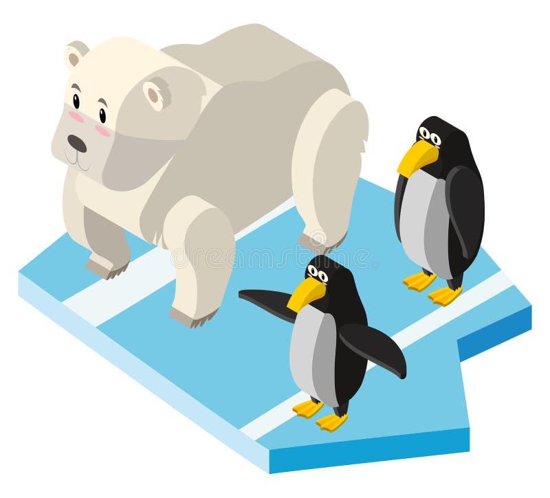 Ursos polares e pinguins no projeto 3D ilustração stock