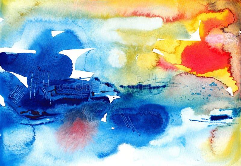 Ursprüngliche abstrakte Aquarellhintergrundbürste stock abbildung