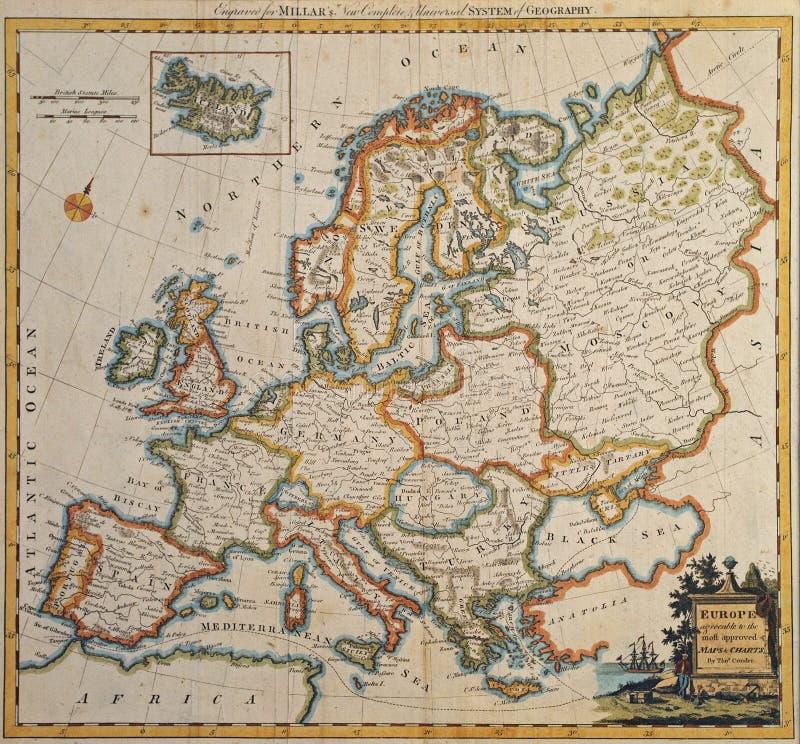 Ursprüngliche antike Europa-Karte. stockfoto