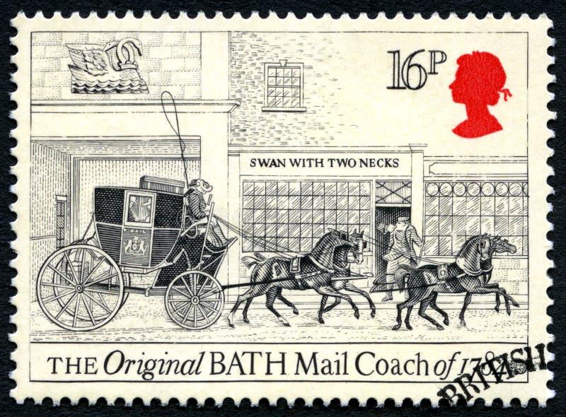 Ursprüngliche Bad-Postkutsche UK Postage Stamp stockbild
