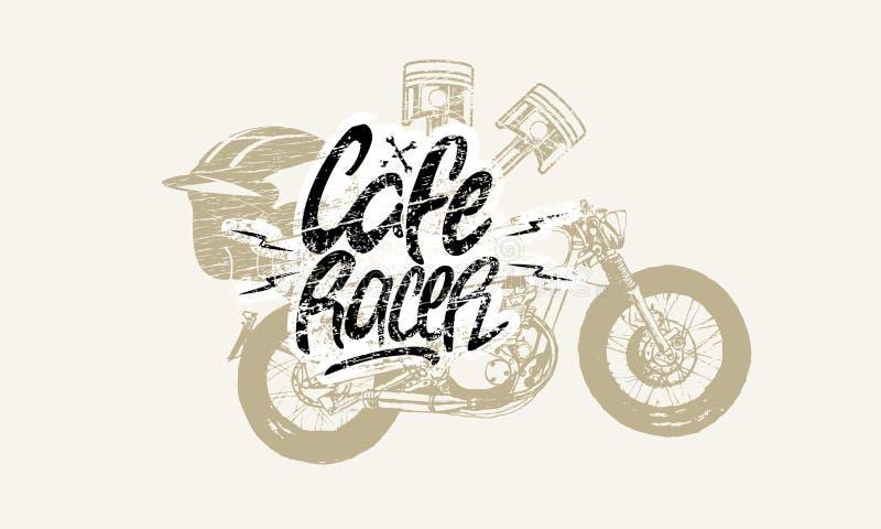 Ursprüngliche Beschriftung des Café-Rennläufers stockfotos
