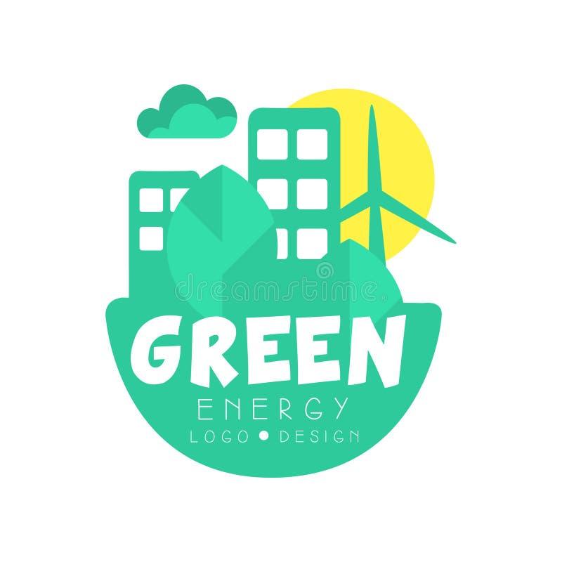 Ursprüngliche Designschablone des grünen Energielogos Umweltfreundliches sauberes Stadtkonzept mit Gebäuden, Bäumen und Windmühle lizenzfreie abbildung