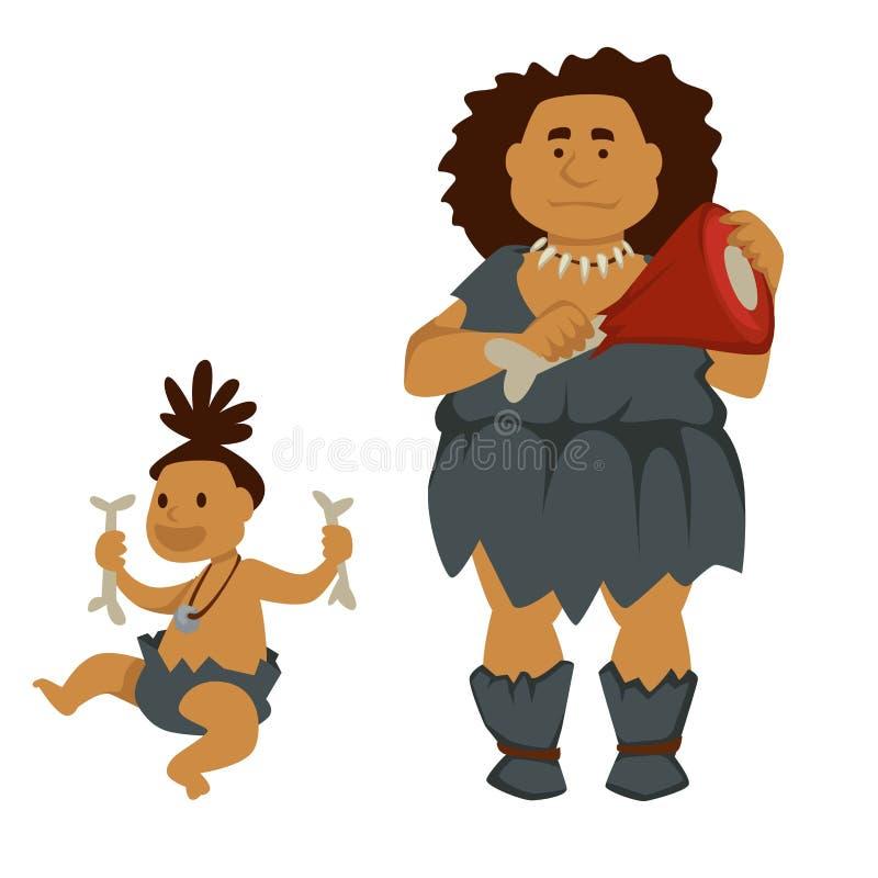 Ursprüngliche Frau mit Fleisch und Baby, das Knochengeschichte hält stock abbildung