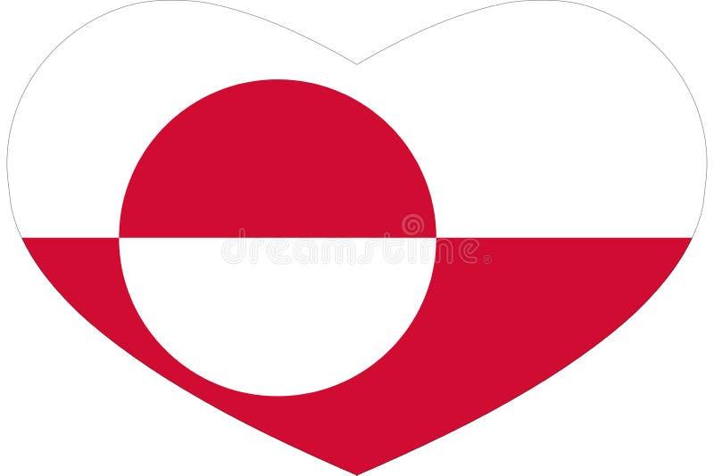 """Ursprüngliche, helle und nette Flaggenikone im Herz †""""Grönland lizenzfreie abbildung"""
