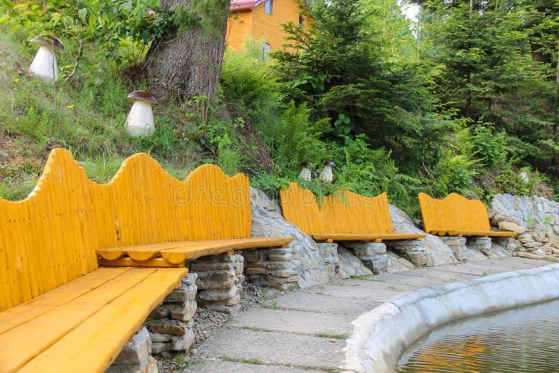 Ursprüngliche Holzbanken auf Ufer von See lizenzfreie stockbilder