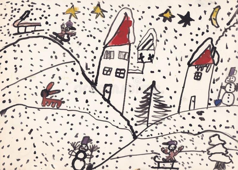 Ursprüngliche Kinderillustration der Winterlandschaft (Tinte auf Papier) vektor abbildung