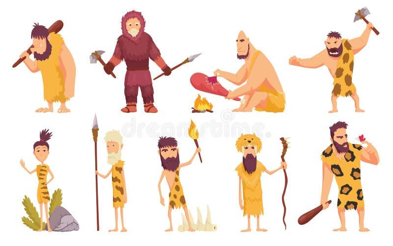 Urspr?ngliche Leute in den Steinzeitalterkarikaturikonen, die mit H?hlenbewohnern eingestellt werden, bewerfen mit Waffe und alte lizenzfreie abbildung
