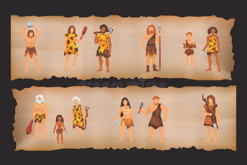 Ursprüngliche Leutestämme des Steinzeitalters in den Steinhöhlen nahe Feuerplatz Alte Frauen des barbarischen Höhlenbewohners im  vektor abbildung