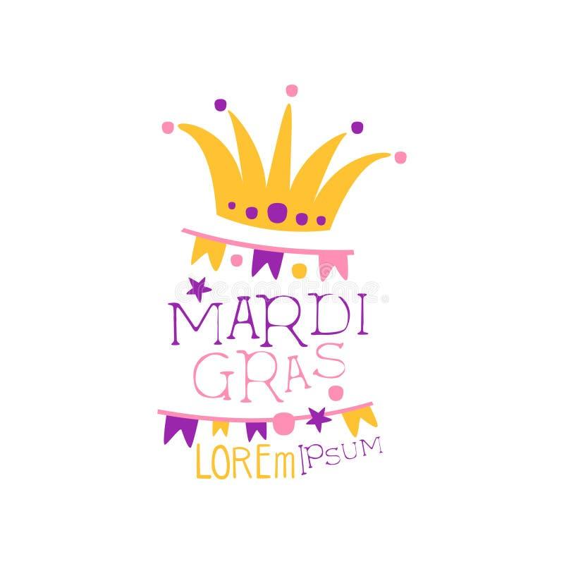 Ursprüngliche Logodesignschablone mit Kappe des Dummkopfs s, Girlande von Flaggen und Beschriftung für Mardi Gras-Feiertag Faschi stock abbildung