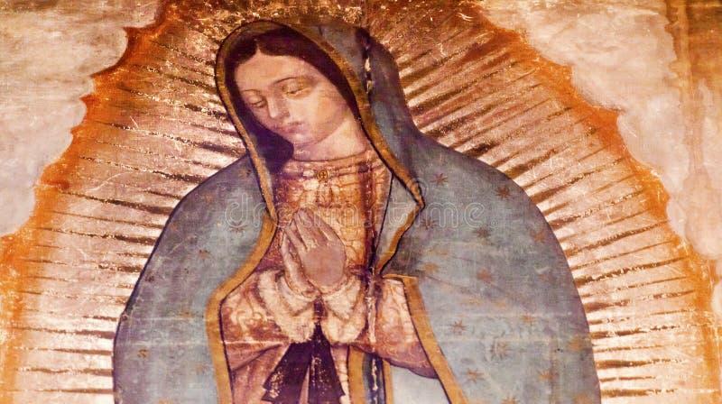 Ursprüngliche Mary Guadalupe Painting New Basilica Shrine Mexiko City Mexiko stockbild