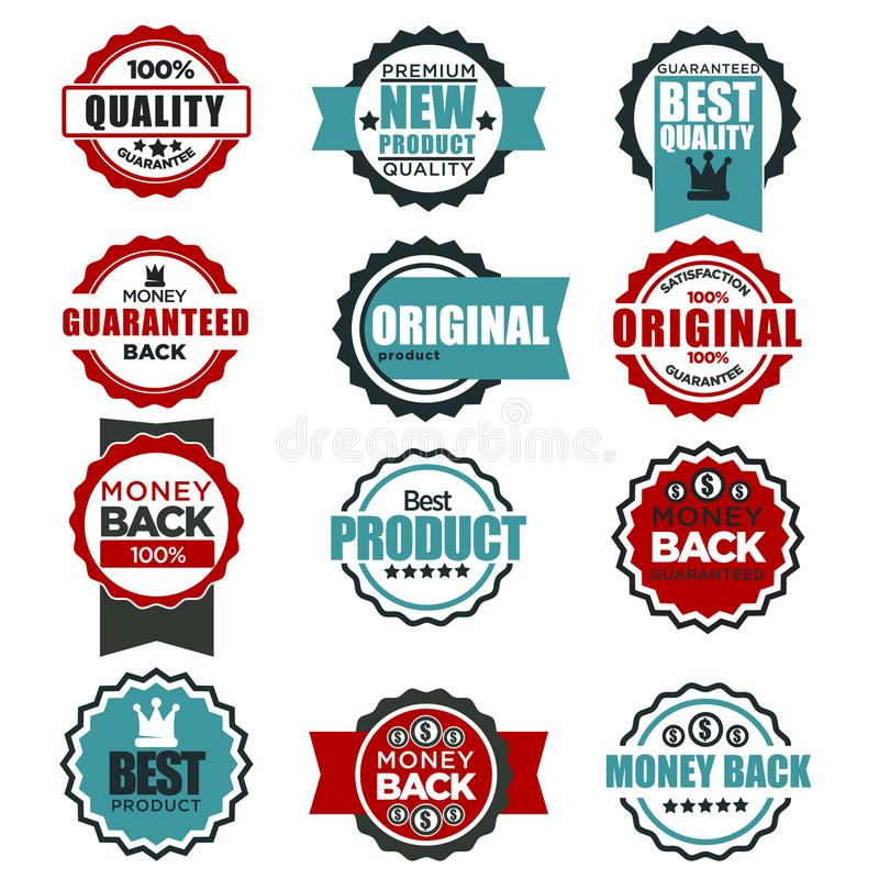 Ursprüngliche Qualitätsgarantie beschriftet Schablonen für beste Produkttag-Vektorikonen stock abbildung