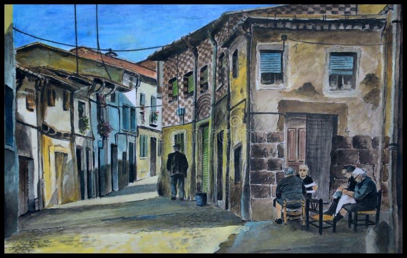 Ursprüngliche spanische Dorfgouache lizenzfreie abbildung