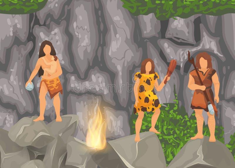 Ursprüngliche Stämme des Steinzeitalters in den Steinhöhlen nahe Feuerplatz Alte Frauen des barbarischen Höhlenbewohners im Pelz  lizenzfreie abbildung