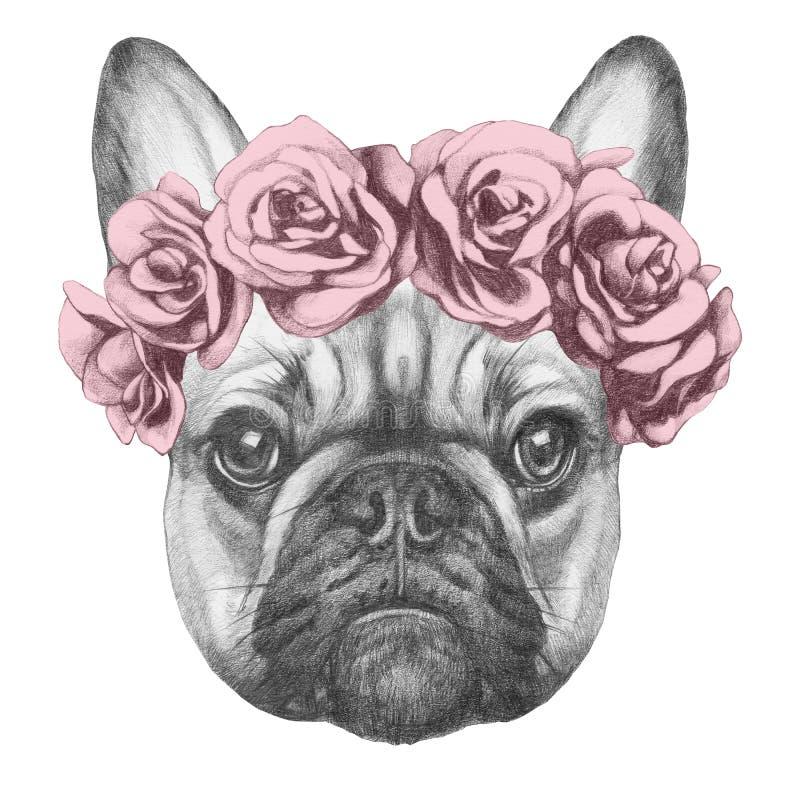 Ursprüngliche Zeichnung der französischen Bulldogge mit Rosen stockbild