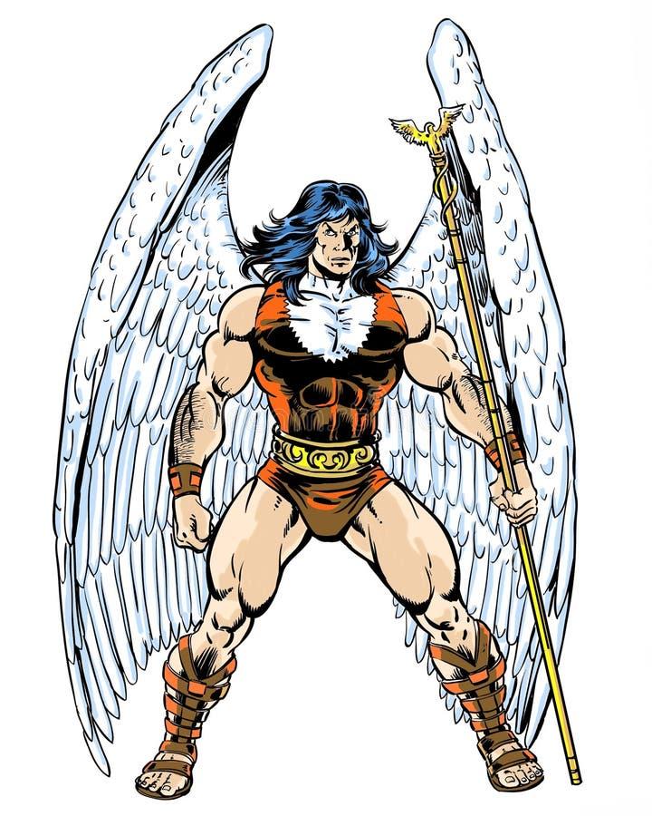 Ursprünglicher Comic-Buch-Charakterengel, der ein Personal hält stock abbildung