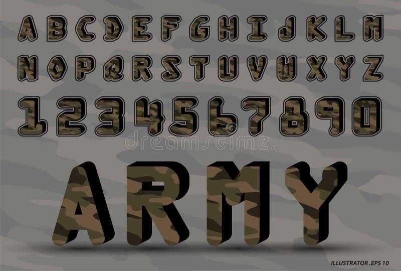 Ursprünglicher Guss der Armee ein Satz Buchstaben und Zahlen Vektor des Tarnungsmusterzusammenfassungsgusses und -alphabetes vektor abbildung
