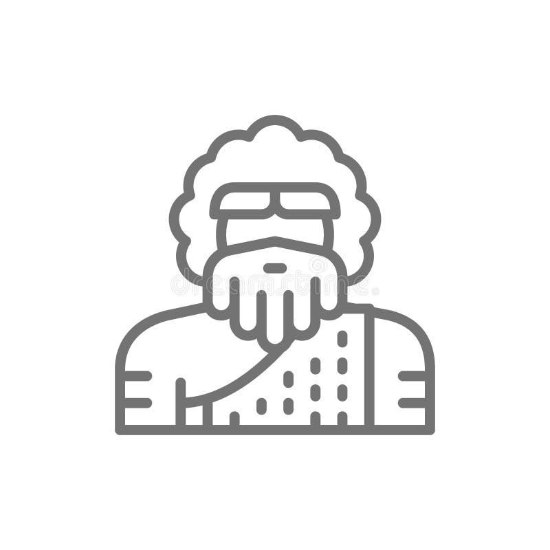 Ursprünglicher Mann, homo sapiens, Neanderthal, Pithecanthropuslinie Ikone vektor abbildung