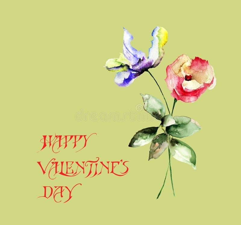 Ursprünglicher Sommer blüht mit Titel glücklichem Valentinsgrußtag stockbild