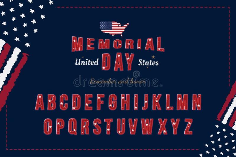 Ursprünglicher USA-Guss mit Flagge und Karte für Memorial Day Lateinisches Alphabet mit einem Satz Buchstaben für Feiertage flach lizenzfreie abbildung