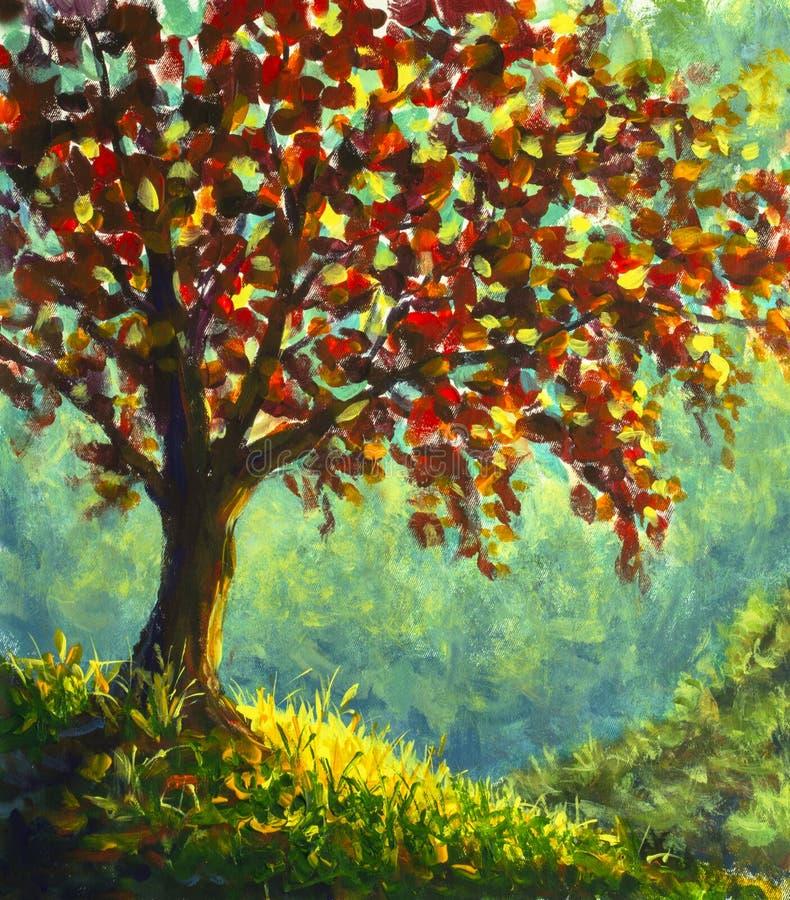 Ursprüngliches Ölgemälde auf Segeltuch Herbstbaum auf sonniger Gebirgsseitenlandschaft lizenzfreie abbildung