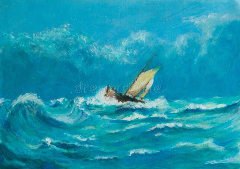 Ursprüngliches Ölgemälde des einsamen kleinen Segelschiffs, das herein kämpft lizenzfreie abbildung