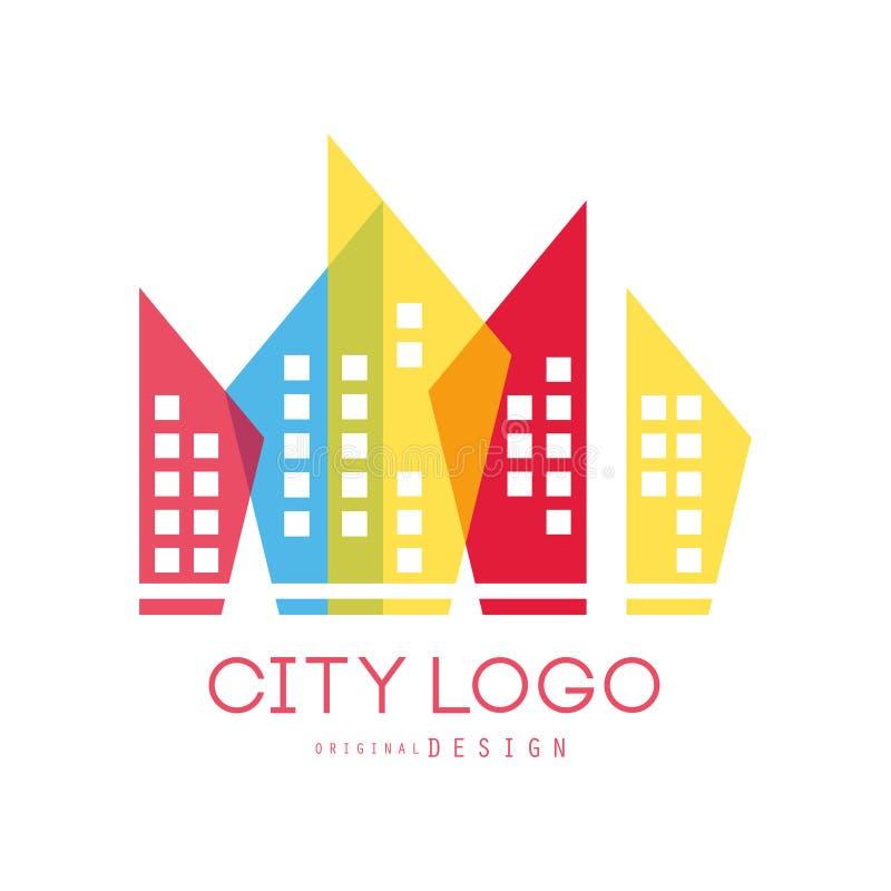 Ursprüngliches Design des Stadtlogos von modernen Immobilien und von Stadt, die bunte Vektor Illustration errichtet stock abbildung