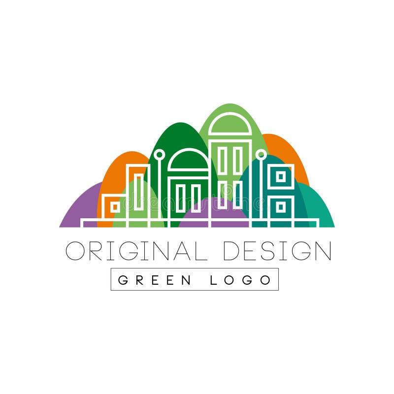 Ursprüngliches Designlogo des grünen Logos, bunte Stadtlandschaftsskyline, Immobilienvektor Illustration auf einem weißen Hinterg lizenzfreie abbildung