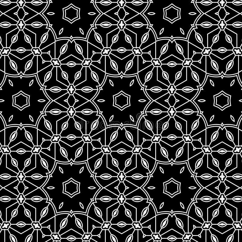 Ursprüngliches einfaches graues Retro- Spitzemuster mit Blumen und Kreisen stock abbildung